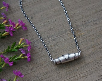 Silver Bead Necklace Sterling Silver Handmade Bead
