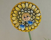 Yellow and White Flower Plant Poke , Handmade , Hand Painted , and has Her Own Earrings