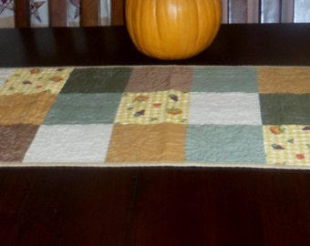 Quilted Fall Table Runner, Handmade, 16x37 inches, Autumn Table Topper, Sale Priced, Unique Machine Quilting