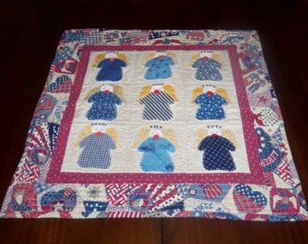 Quilted Wall Hanging, Americana, Scrappy, Country Angels, Machine Quilted, Fabric Wall Decor, Sale Priced, Patriotic Decor