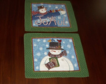 Snowmen, Quilted Placemats, Sale Priced, Set of Two, Green Snow Buddies, Handmade, Christmas Winter, Machine Quilted, 13x16 Inches