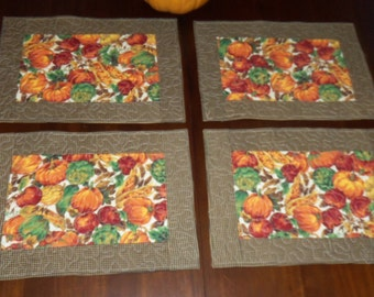 Quilted Placemats, Autumn Fall Decor, Set of Four, 12x17 Inches, Dining Table Decor, Machine Quilted, Table Mats