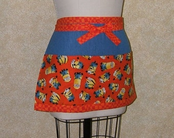 Minions half apron orange blue denim waiter waitress bartender farmers market server new and upcycled materials