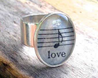 Love Music Resin Ring