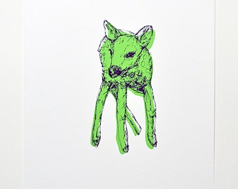 Deer - Screen Print - Limited Edition (Green)