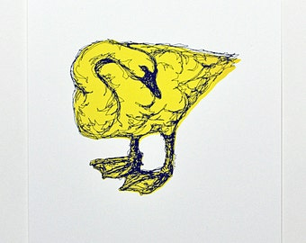 Swan - Screen Print - Limited Edition (Yellow)