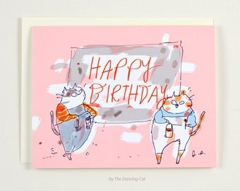 Happy Birthday Card Cat - Sign Painters - Cat Birthday Card - Birthday Card for Artist