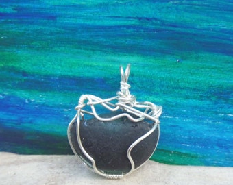 English sea glass necklace - unusual Valentine gift for her