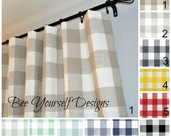 """Pair of Curtain Panels Buffalo Check Checker Gingham,Premier Prints Anderson - 25"""" or 50"""" wide - Choose color and length"""