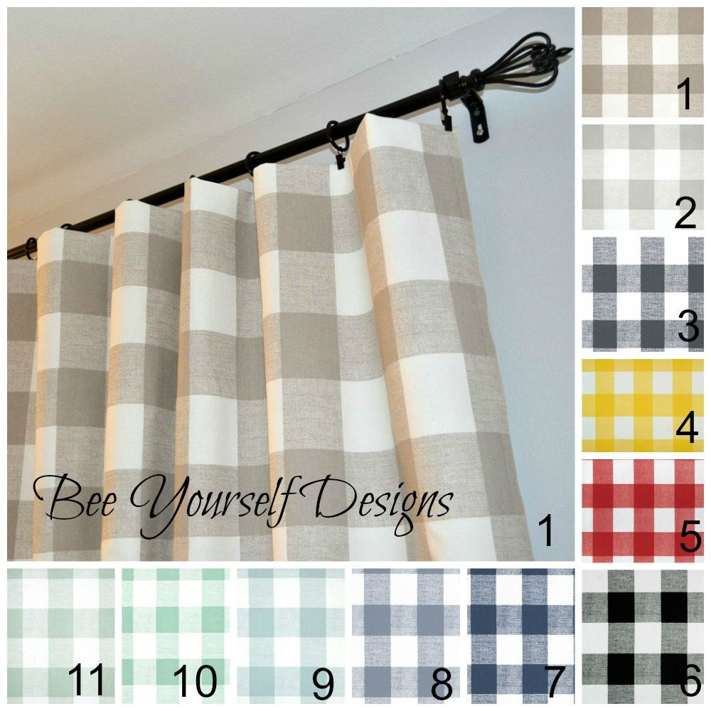 Pair of curtain panels buffalo check checker by