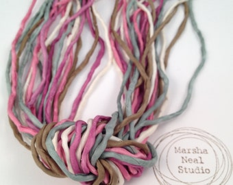 Hand Dyed Silk Cord - Silk Ribbon - Jewelry Supplies - Wrap Bracelet - Craft Supplies - 2mm Silk Cord Vintage Rose Color Palette