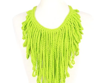 Limin' Crochet Fringe Statment Necklace
