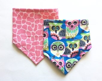 Baby Girl Bibdana Set, Bandana Bibs for Baby, Baby Shower Gift, Bib 2 pack