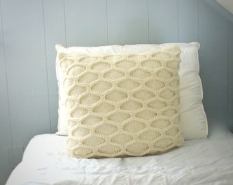 Decorative Throw Pillow, Coral Cable Knit Pillow Sham, As Seen in IN NJ Magazine April 2013