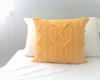 Yellow Pillow Cover, Cable Knit Pillow Sham, Sweater Pillow, Throw Pillow, Knit Pillow, Knit Home Decor, Yellow Pillow