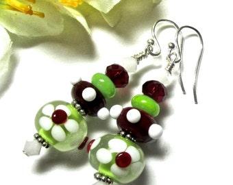 Cute Earrings Flower Earrings Lampwork Earrings Glass Earrings Artisan Earrings Beaded Earrings Funky Earrings Floral Earrings