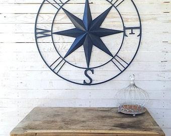 Nautical Wall Art, Metal Wall Compass, Metal Wall Art, Nautical Metal Wall Art, Navy Blue Metal Wall Compass, Exterior Art, Red Home Decor