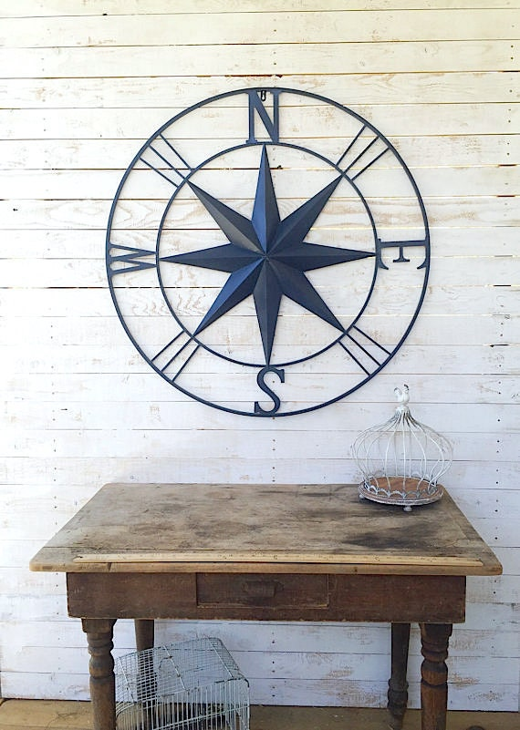 Nautical wall art metal wall compass metal wall art for Outside wall art