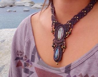 Tiger Iron and Labradorite Macrame Necklace | Double Pendant | Micro-Macrame | Unisex, Healing Crystal Jewelry