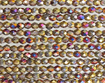 4mm Faceted 2 Tone Gold and Glitz Firepolish Czech Glass Beads - Qty 50 (DW25)