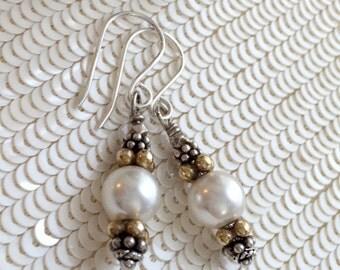 Pearl Dangle Earrings Mixed Metal Oxidized Silver Gold Vermeil Wire Wrap Ivory Pearl Minimalist Earrings Urban Chic