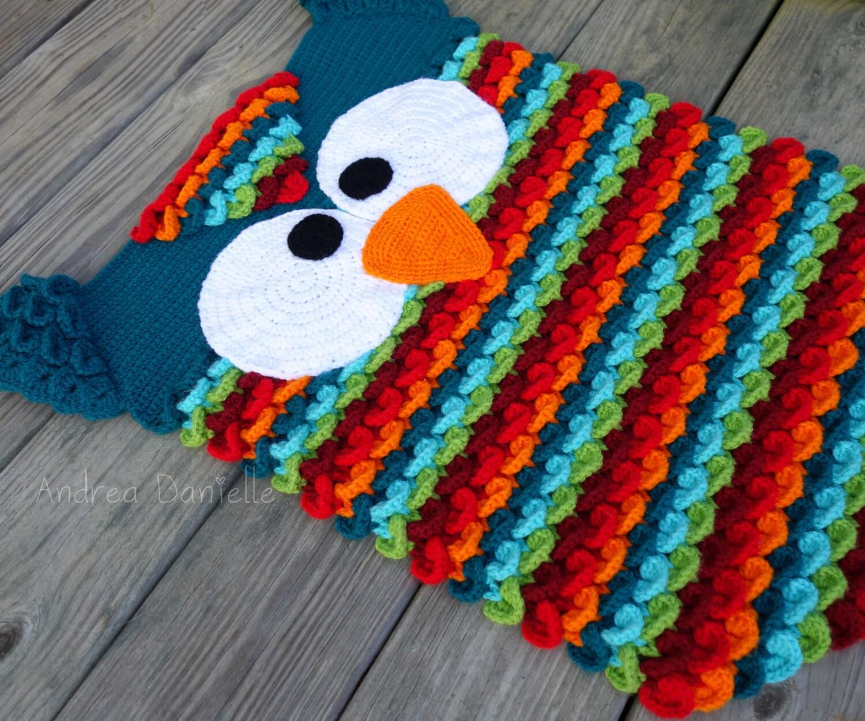 Crochet Owl Rug: Teal Turquoise Green Red Maroon Orange
