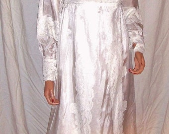 Vintage White Floral Lace Wedding Dress Gown 8