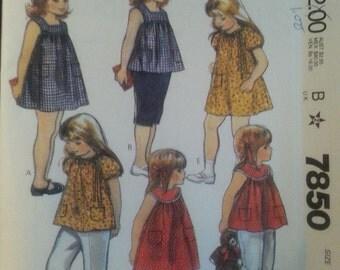 Girls Toddler Dresses or Tops Pattern Vintage Mccalls 7850 Childrens Size 5