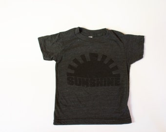 kids graphic tee - SUNSHINE - clothing for boys and girls - toddler - children - hand printed - black sunshine - tri blend t shirt - grey