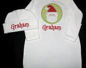 Custom Personalized Applique Gingham SANTA PATCH and NAME Gown and Hat Set - Lime Green and Red