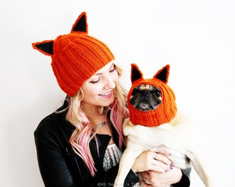 Fox Hat Set - Dog Hat and Matching Adult Hat - Mother's Day Gift - Dog Mom Gift - Custom Pet Gift