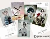 Postcard Set x 5 - Mixed Art - A6 - Big Eyed Girl Art  - Birds - Fairies - Butterflies