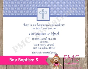 Boy Baptism Invitations - 1.00 each with envelope