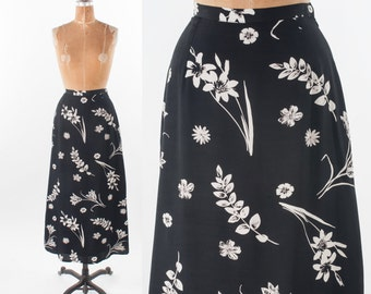 Vintage Laura Ashley Skirt, 80s Black & White Rayon Floral Designer Maxi, Deadstock