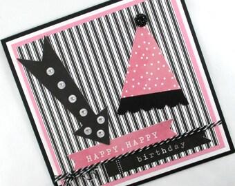 Birthday cards, girls birthday cards, birthday cards for girls, party hat, kids birthday cards