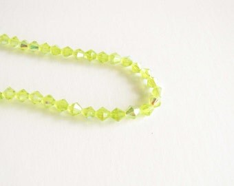 6mm Glass Bead Faceted Bicone Lime Green AB necklace bracelet jewelry supply