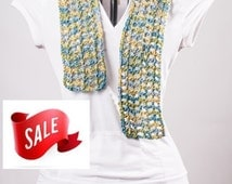 SALE Scarf, Filet, Organic Cotton, Curacao, Ready to Ship