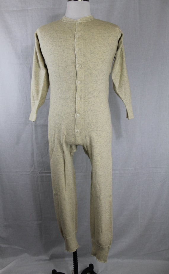 1940s Vintage 40s White Gray Mens One Piece Long By