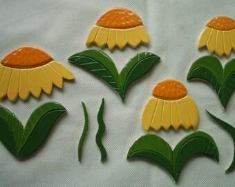 P15 - YELLOW/Orange FLOWERS Set - Ceramic Mosaic Tiles