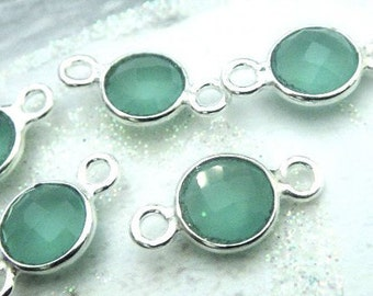Aqua Chalcedony Bezel Connector, 8mm Gemstone Links, 925 Sterling Silver Double Sided Faceting, BULK WHOLESALE