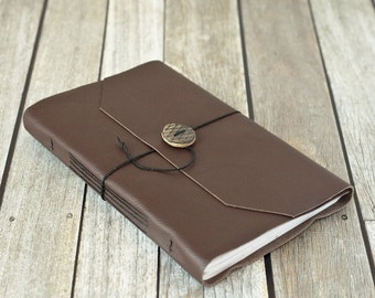 Large Brown Leather Journal with Ceramic Button Closure, Rustic Sketchbook