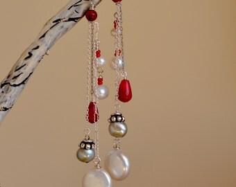 Pearl Cascade Earrings. Sterling Silver Earrings. SEA TREASURES. Biwa Keishi Pearl - Red Coral Gemstone Earrings. Wedding Earrings.