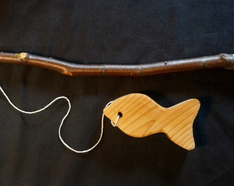 14 Inch River Birch Fishing Pole With Sweet Wooden Fish Photo Prop