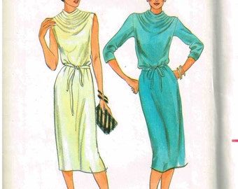 Cowl Neckline Slim Dress Sewing Pattern Long Sleeve Sleeveless Butterick 6904 Misses Size 10 Bust 32.5