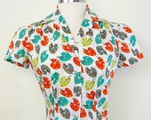 40's Style Painter's Pallet Novelty Print Blouse