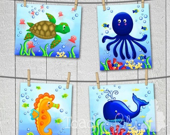 Set of 4 Ocean Creatures Wonders 8x10 Kids Bedroom Bathroom ART PRINTS