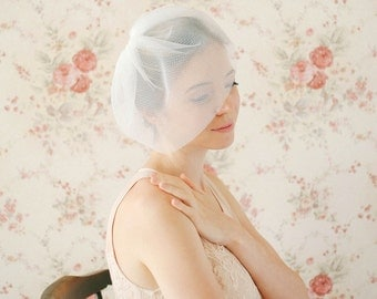 Wedding blusher, birdcage veil, bridal face veil, double layer, illusional tulle - style 321