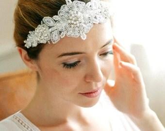 Bridal lace headband, wedding headpiece, beaded headband, halo, wreath, wedding hair - style 236