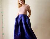 Blue Maxi Skirt, Silk Taffeta Long Evening Skirt Pleats Pockets, Prom Skirt, Bridesmaids Skirt, Customize color and length, Plus sizes