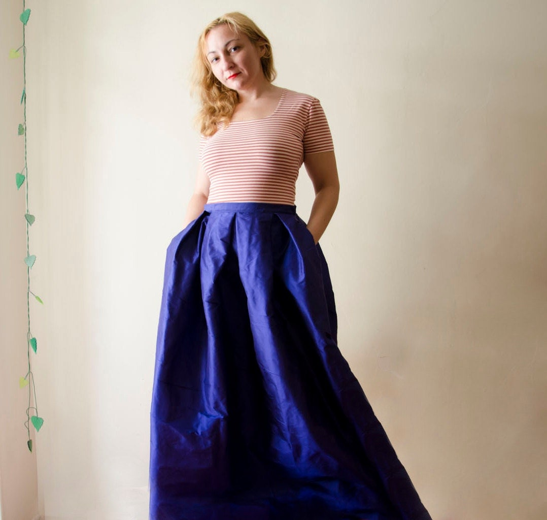 Blue Maxi Skirt Silk Taffeta Long Evening Skirt Pleats